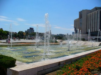 Fountains in front of National Palace of Culture